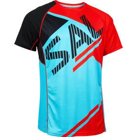 Salming Bold Print Hardloopshirt korte mouwen Heren rood/blauw